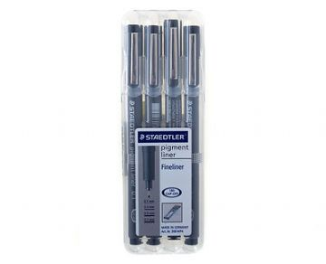 STAEDTLER PIGMENT LINER WALLET of 4 FINELINERS DRAWING PENS - 4 Nib Sizes